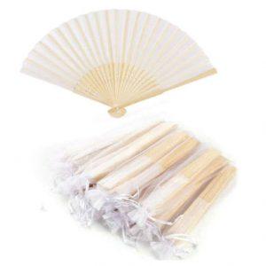 abanico de tela y bambú