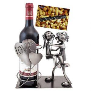 escultura de pareja para soporte de botella de vino