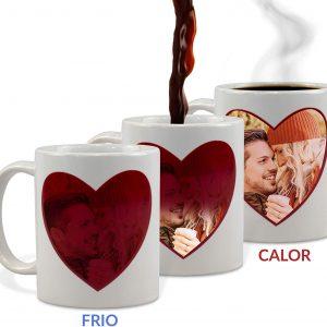 taza mágica de corazón personalizada con foto