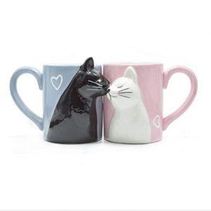 taza romántica de gatitos